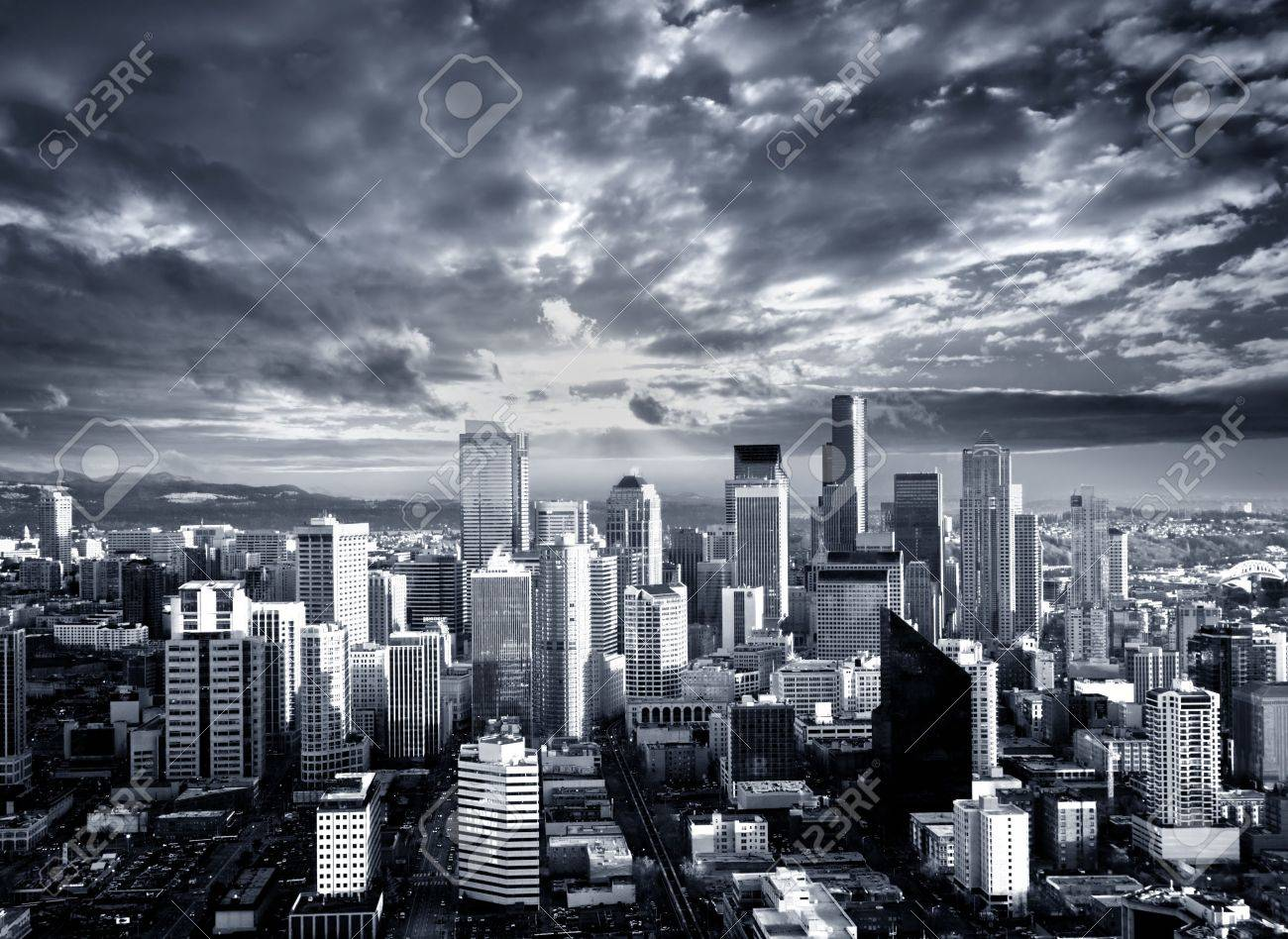 Black and White Seattle Cityscape - 5568551
