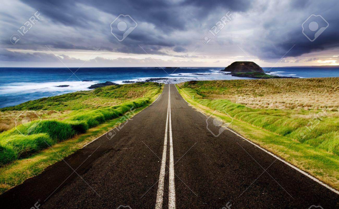 Road leads to a beautiful coastline Stock Photo - 7689639