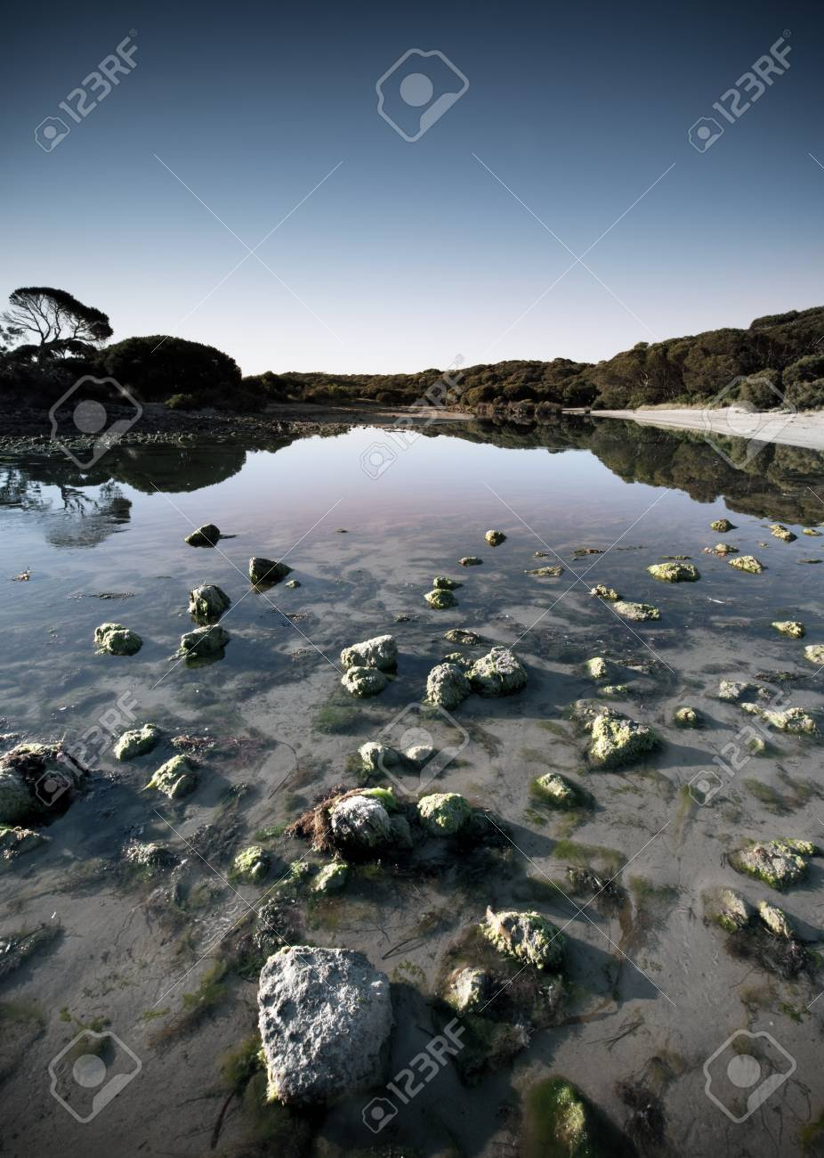 A peaceful stream with rocks at sunrise Stock Photo - 9545015