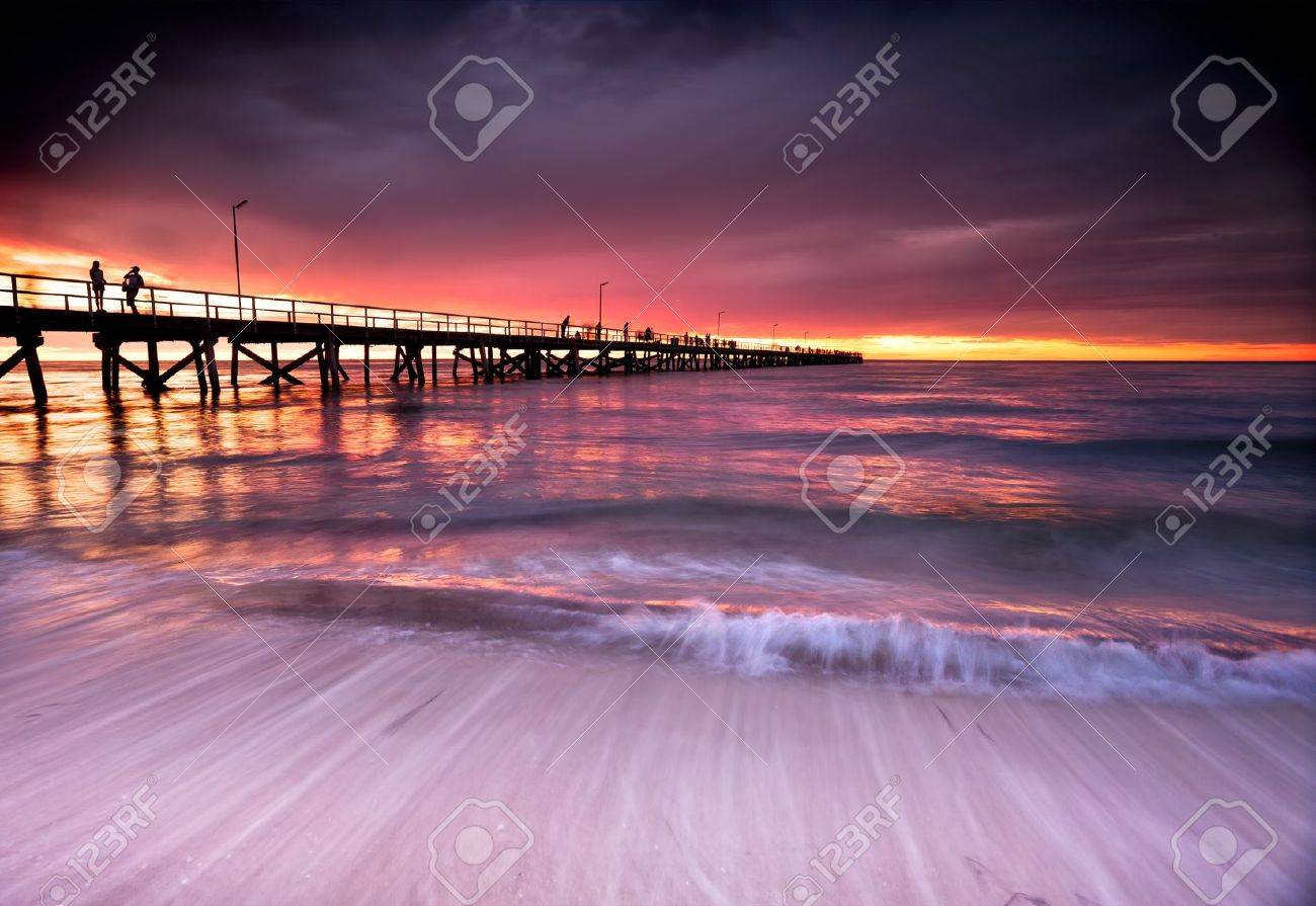 Beautiful Sunset at Semaphore Beach, South Australia Stock Photo - 12986405
