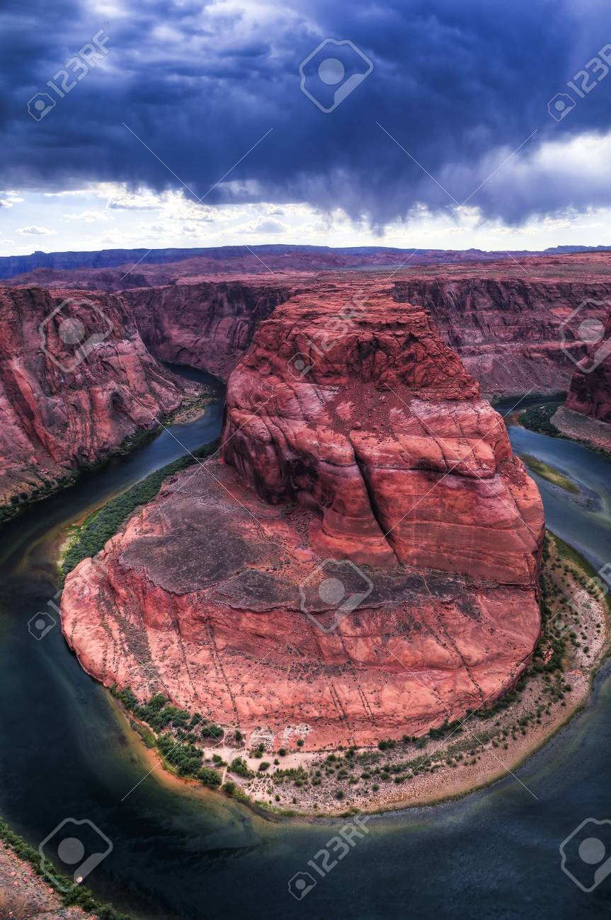 Stormy Dramatic Sky over Horseshoe Bend in Page Arizona Stock Photo - 10467684