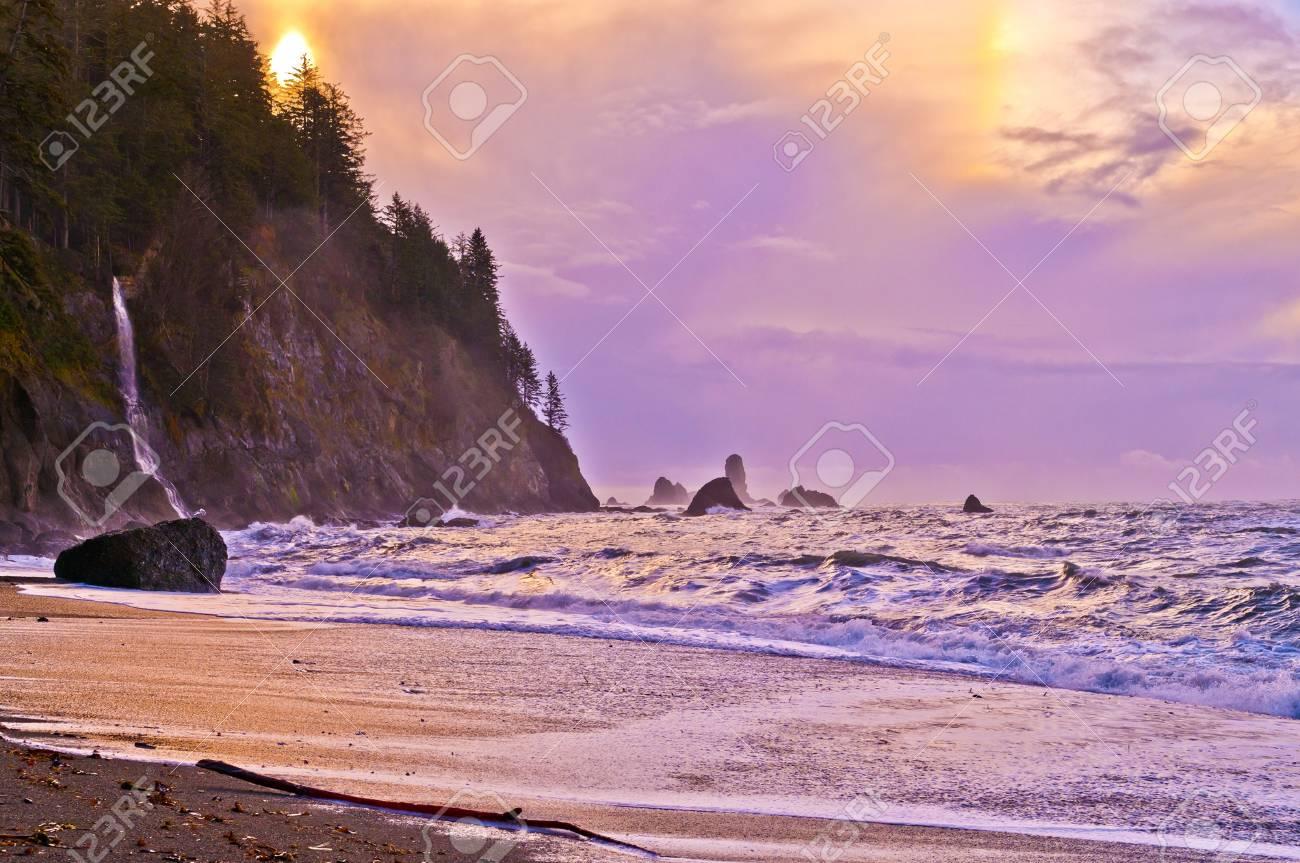 Crashing waves amazing sunset sky at La Push Beach in Olympic National Park Stock Photo - 13165103