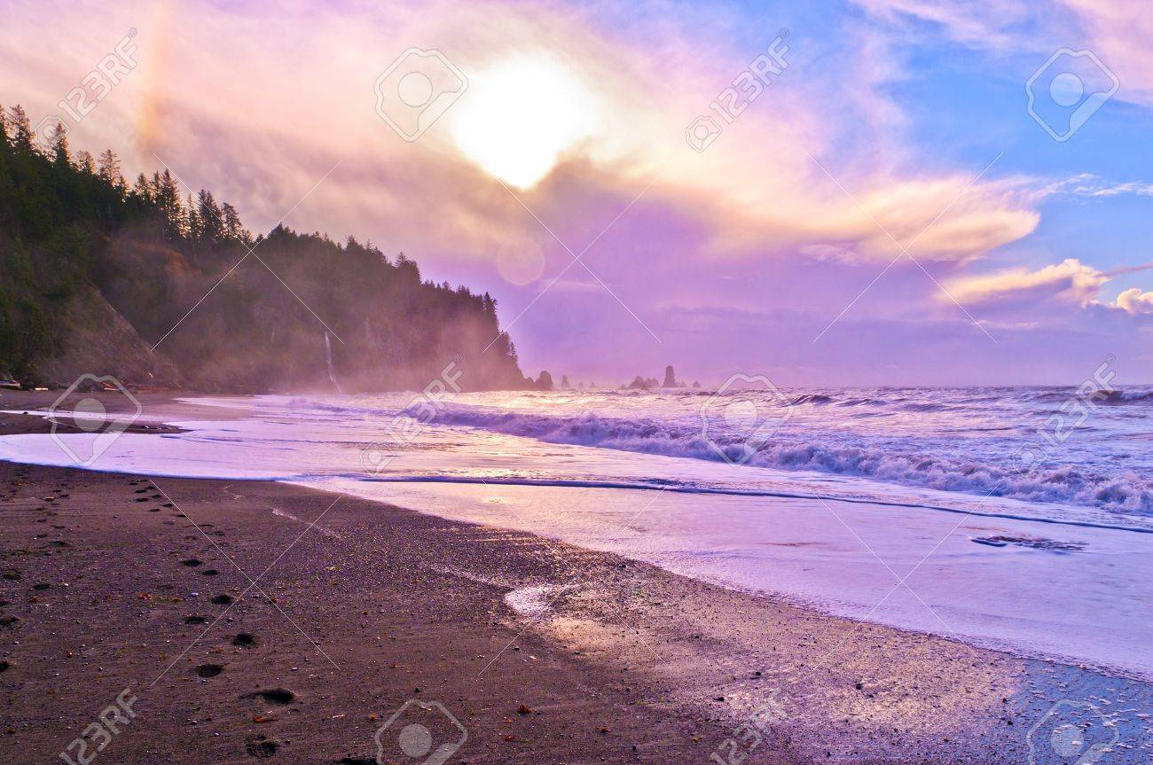 Crashing waves amazing sunset sky at La Push Beach in Olympic National Park Stock Photo - 13165088