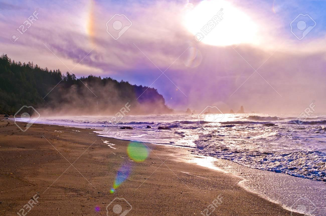 Crashing waves amazing sunset sky at La Push Beach in Olympic National Park Stock Photo - 13165108