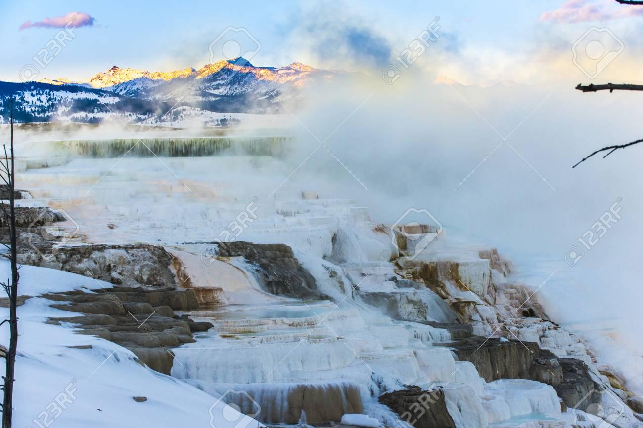 Beautiful Winter Geyser At Sunset Yellowstone National Park