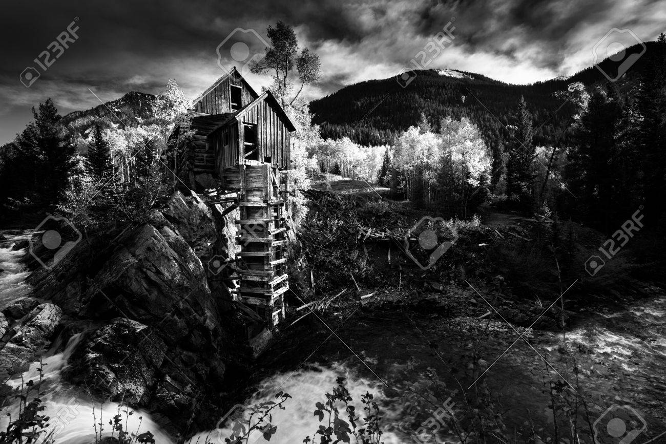 Crystal mill colorado black and white photography famous usa landscapes stock photo 56792145