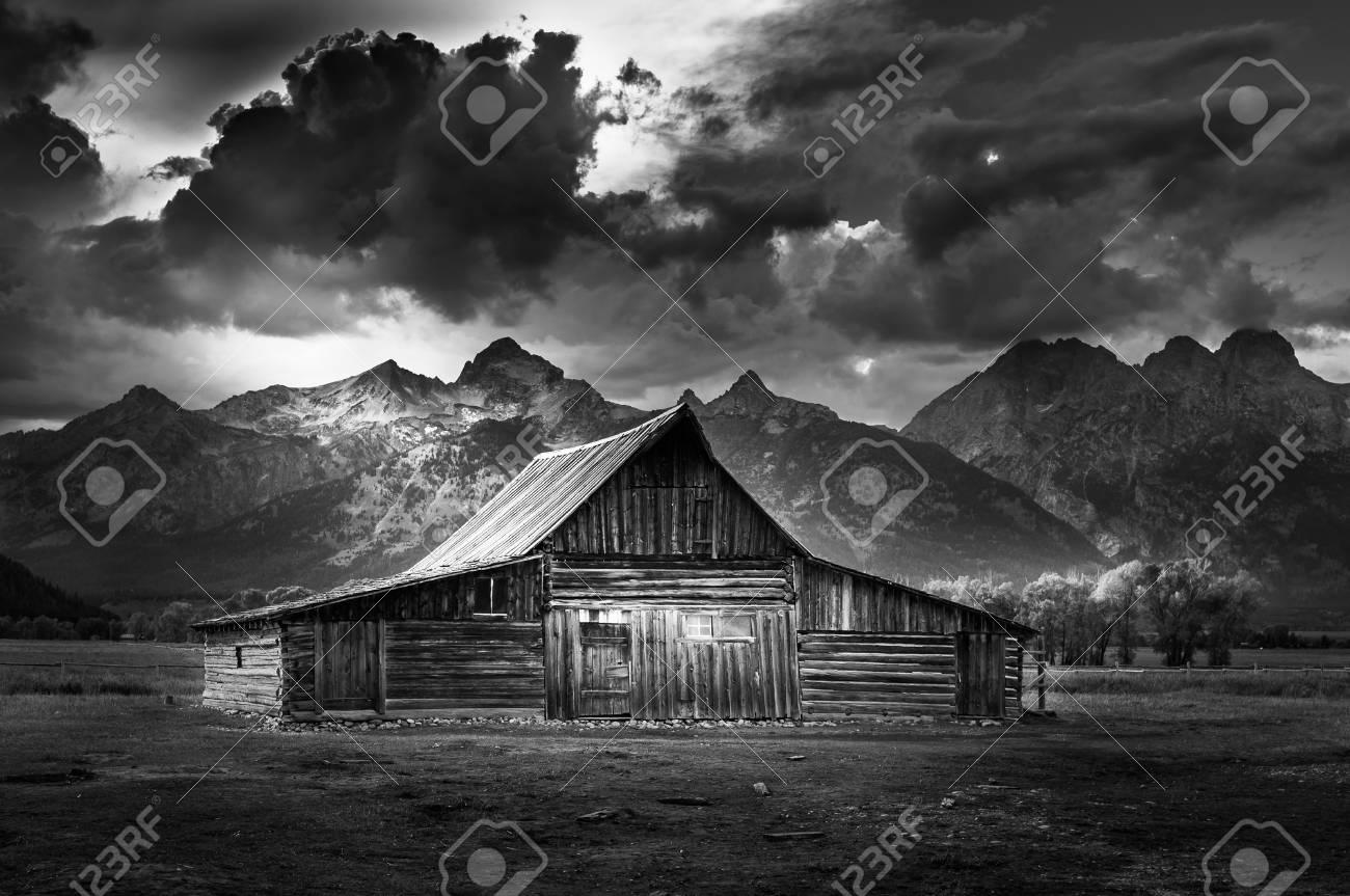 Grand teton national park mormon row black and white photography famous usa landmarks stock photo