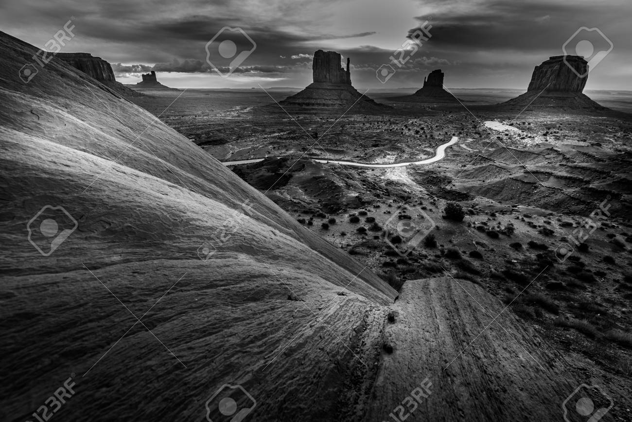 Monument Valley Black And White Famous American Landscapes Stock Photo