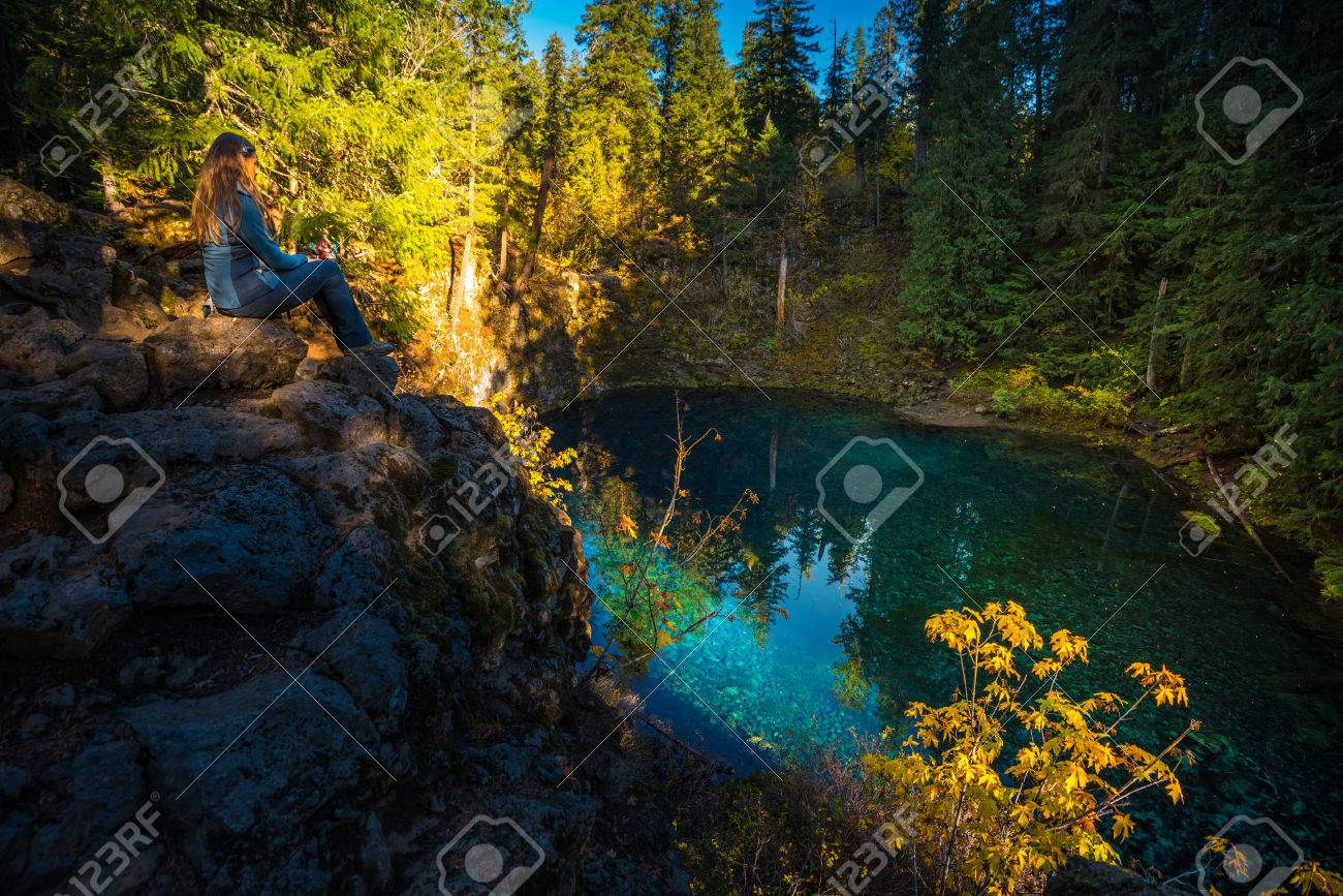 Stock Photo   Tamolitch Blue Pool McKenzie River Oregon Cascade Mountain  Range