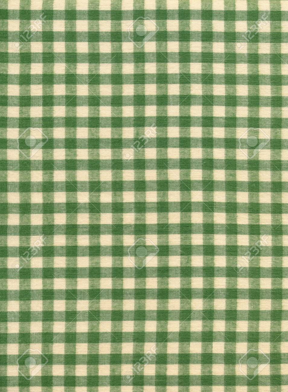 Green And White Checkered Tablecloth Textile Fabric Background Stock Photo    24196423