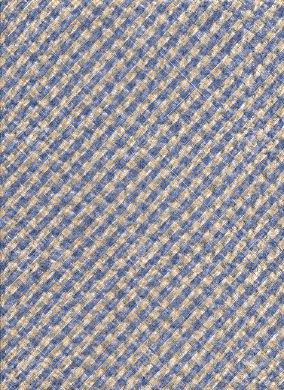Blue and gray diagonal checkered tablecloth textile background Stock Photo - 24196429