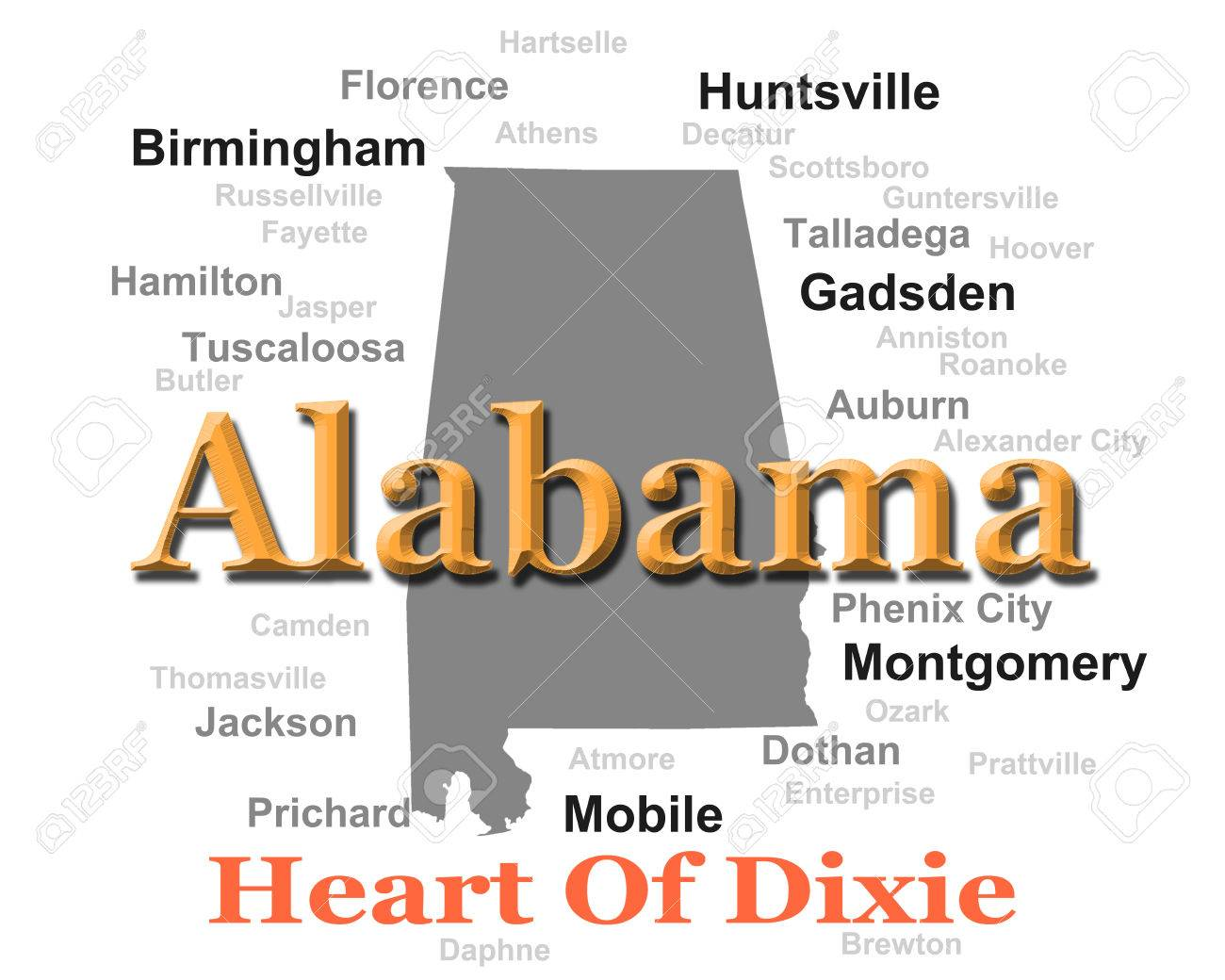 Alabama State Pride Image Including Map Silhouette With Cities - Alabama state map cities