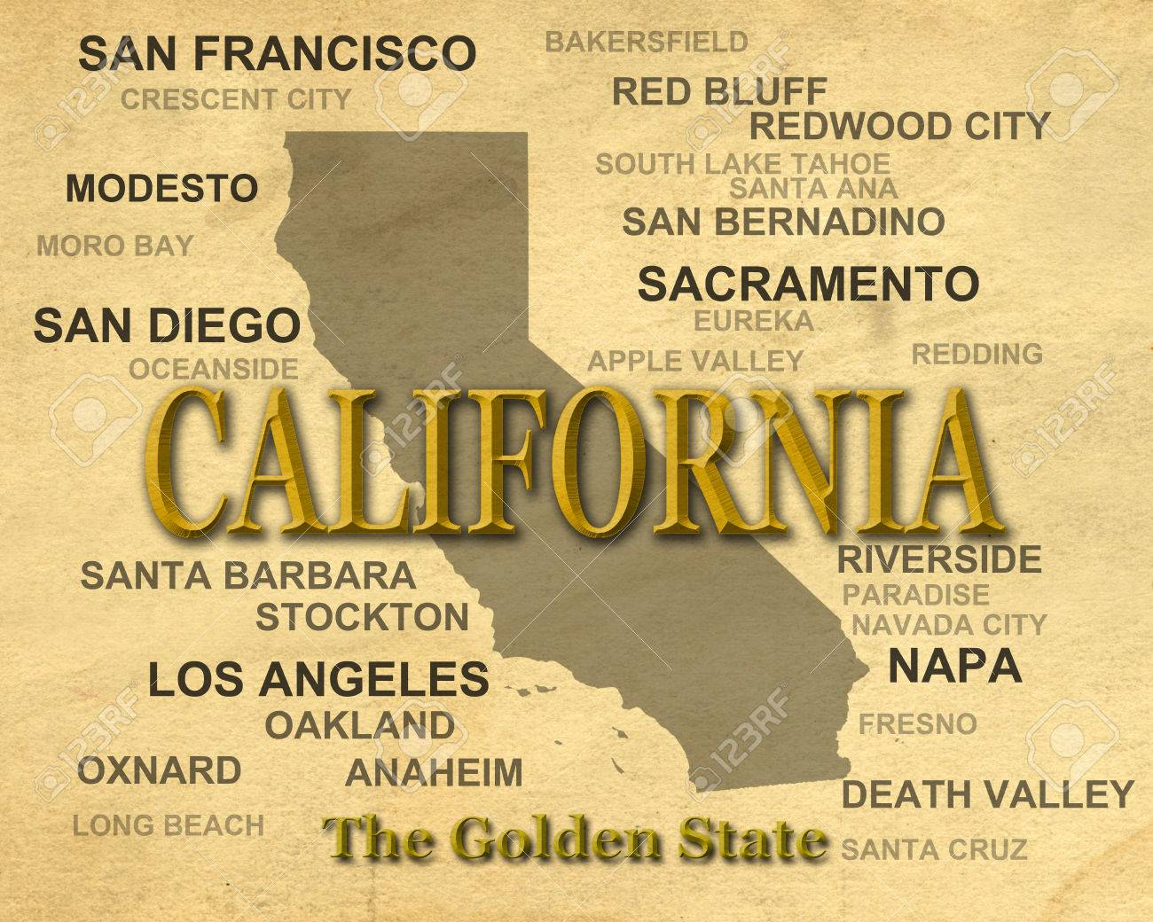 California State Pride Image Including Map Silhouette With Cities ...