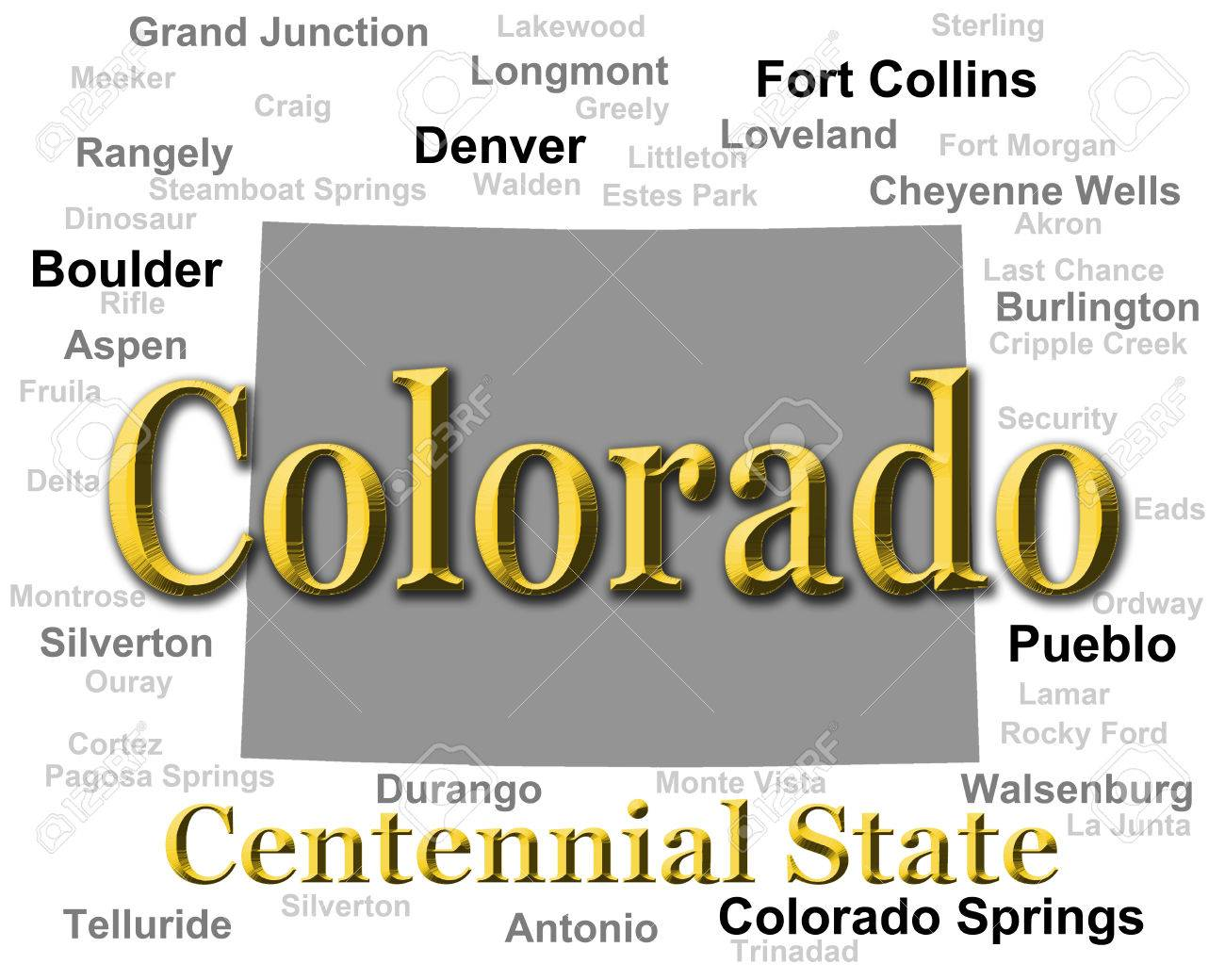 Colorado State Pride Image Including Map Silhouette With Cities