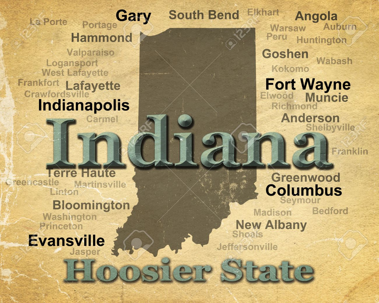 Indiana State Map With Cities And Towns.Aged Anitque Paper Indiana State Pride Image Including Map