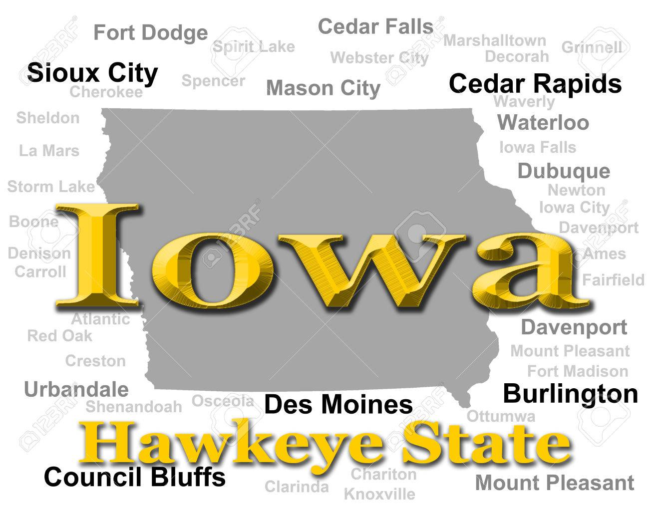 Iowa State Pride Image Including Map Silhouette With Cities - Map of iowa cities