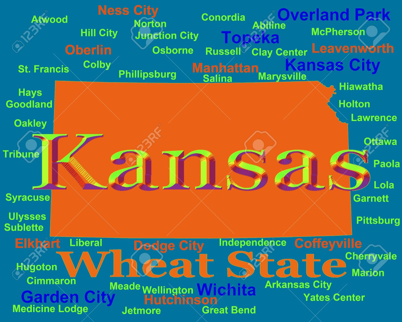 Colorful Kansas State Pride Image Including Map Silhouette With - Kansas cities towns map