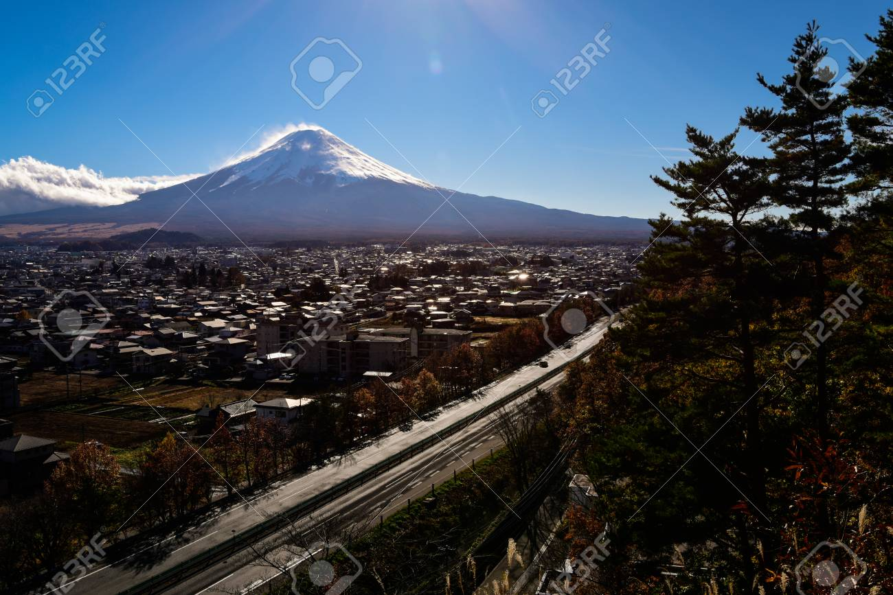Mt. Fuji over a Provincial City and Highway - 96340970