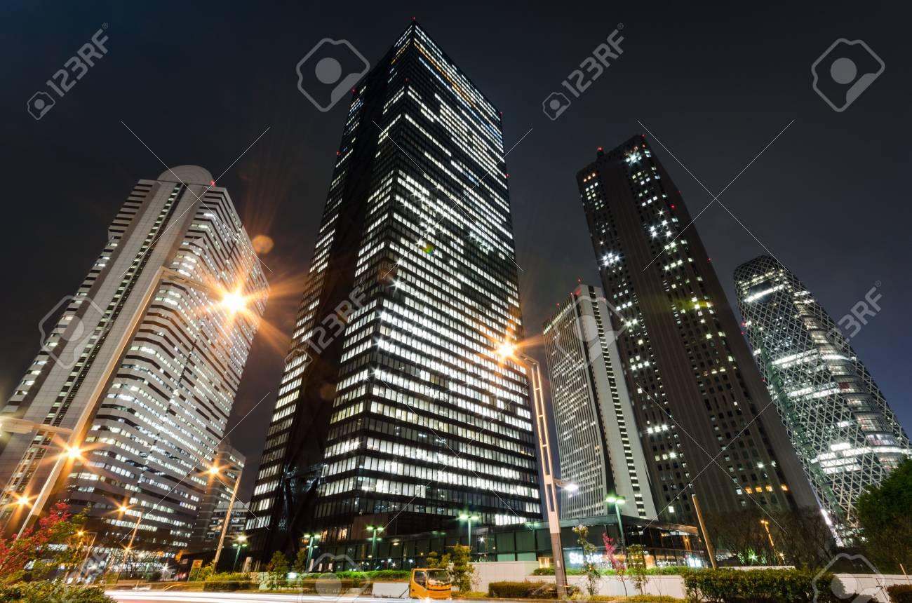 Skyscrapers in Tokyo at Night - 96490143