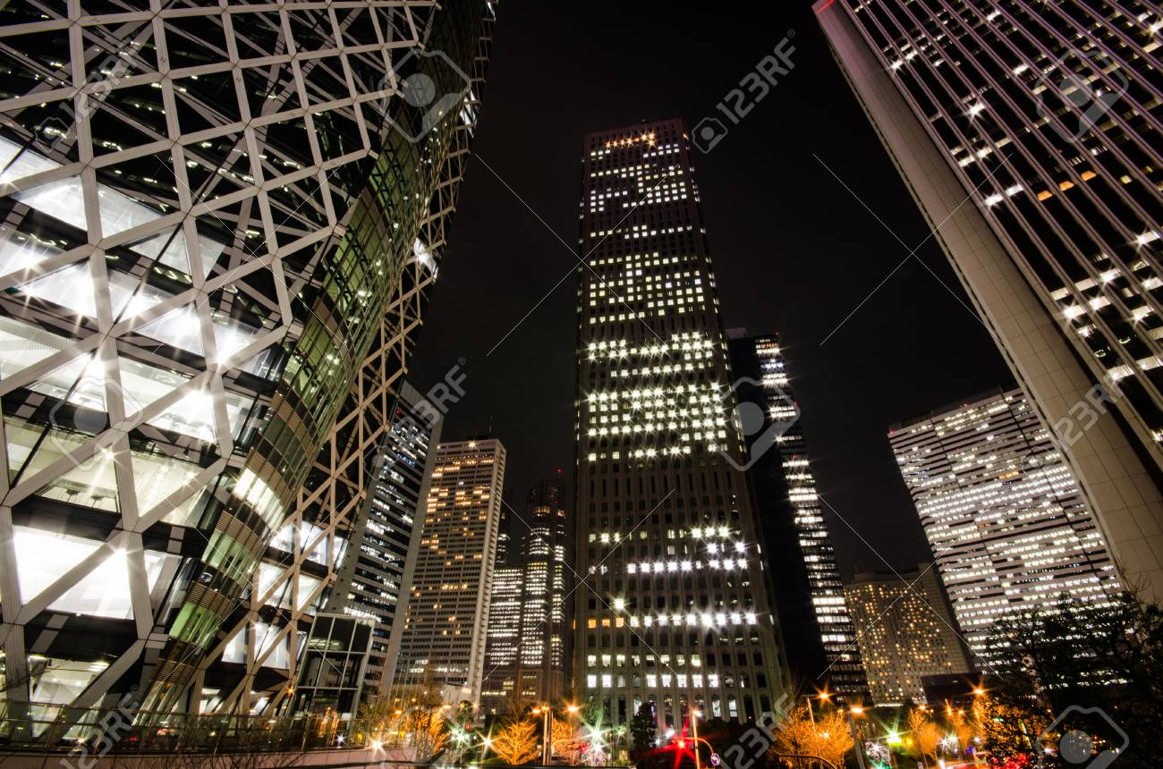 Skyscrapers at Night - 96490144