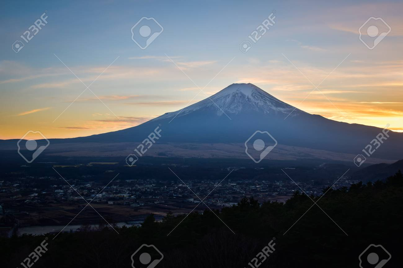 Mt. Fuji Captured from a Hill at Sunset - 100641267