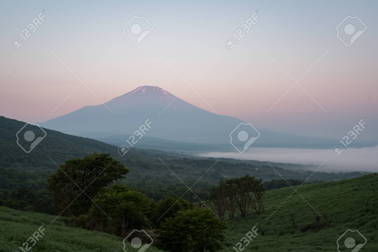 Mt. Fuji over a Lake Captured from a Hill in Summer - 100567312
