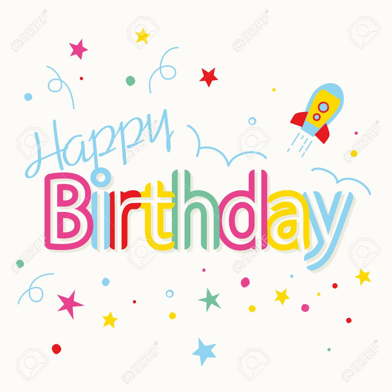 Happy Birthday Card Design With Colorful Stars Vector Illustration