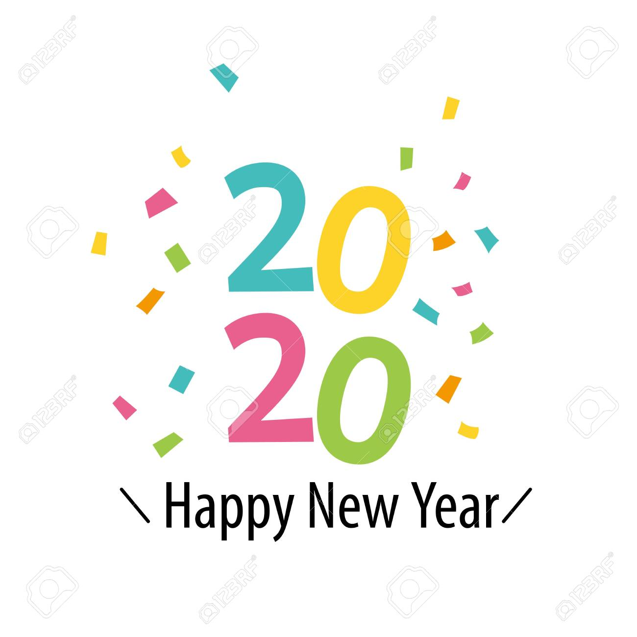 Happy New Year Clipart 2020.Happy New Year 2020 With Colorful Confetti