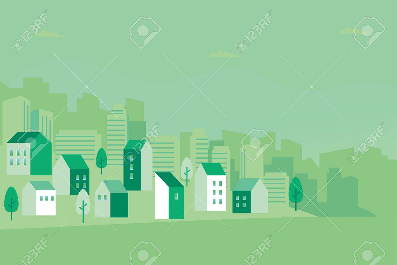 Vector illustration of green cityscape - 145385825