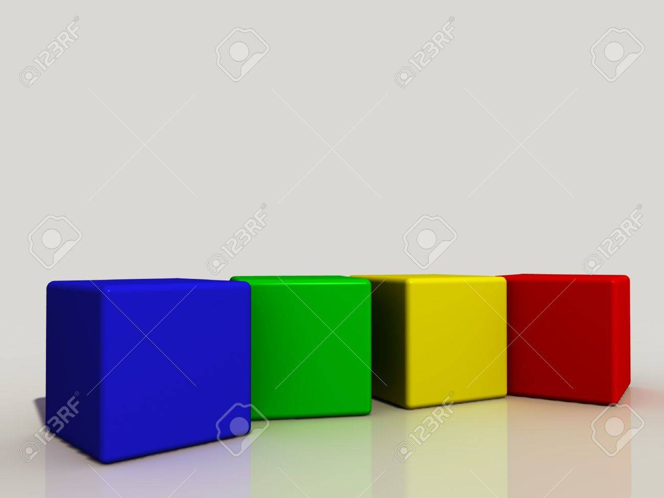 four colored cubes in a row Stock Photo - 1354549