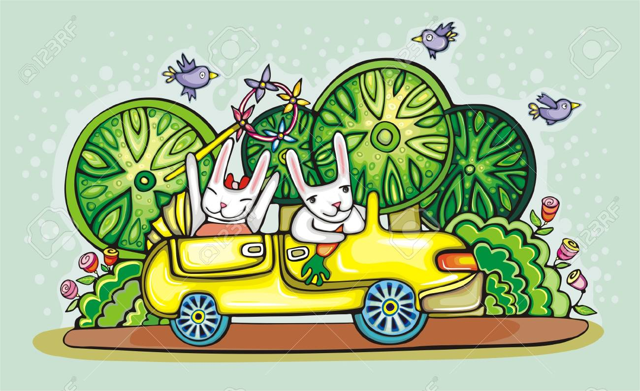 hares are going on vacation in a yellow car Stock Vector - 12497666