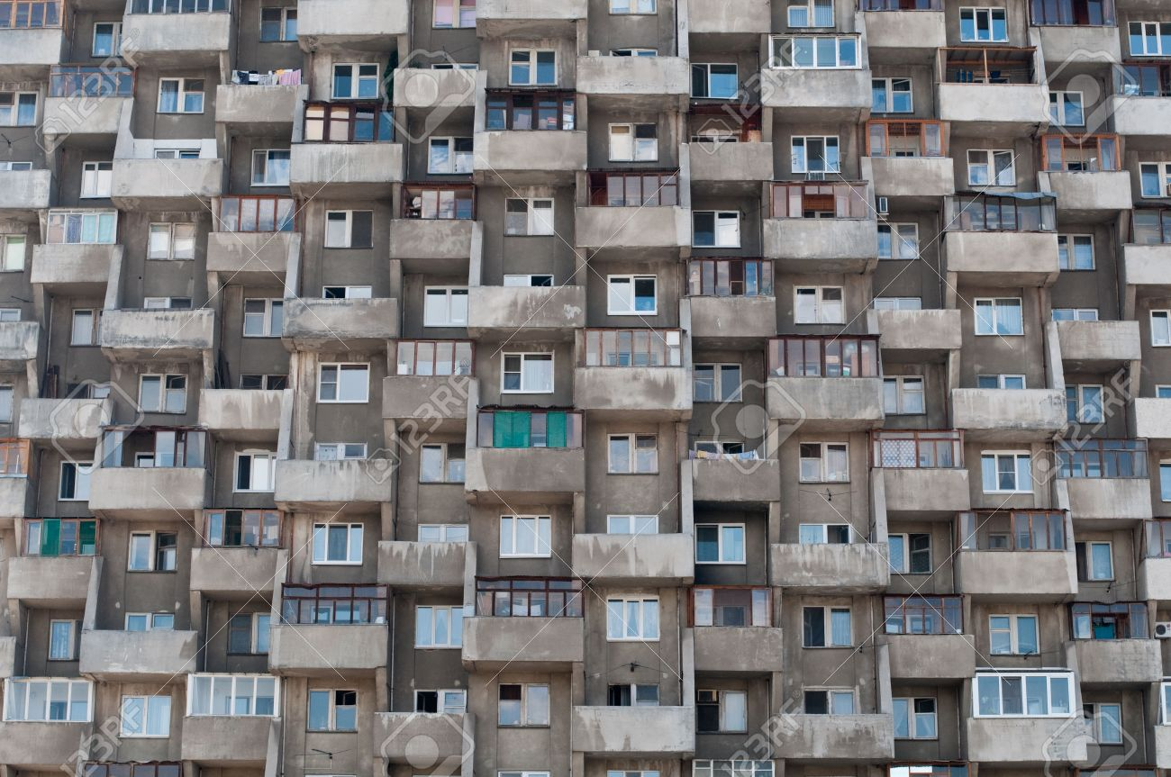 ugly hive like resident block building with lots of windows and balconies Stock Photo - 5900088