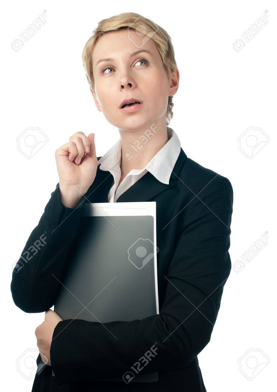 beautiful short haired blonde business woman thinking with hand near her face, looking up, isolated on white background Stock Photo - 9007126