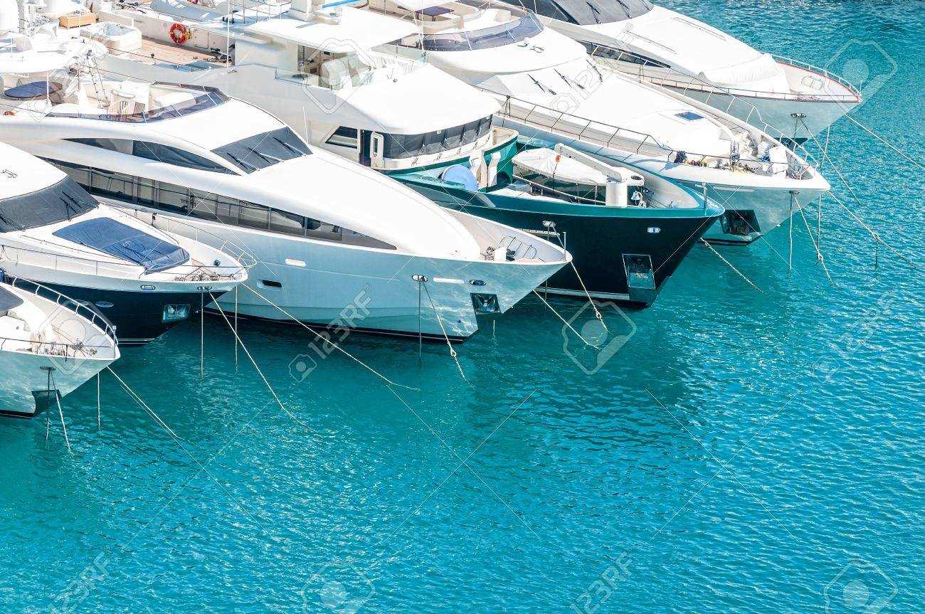 Beautiful white modern yachts at sea port in Nice, France, Europe