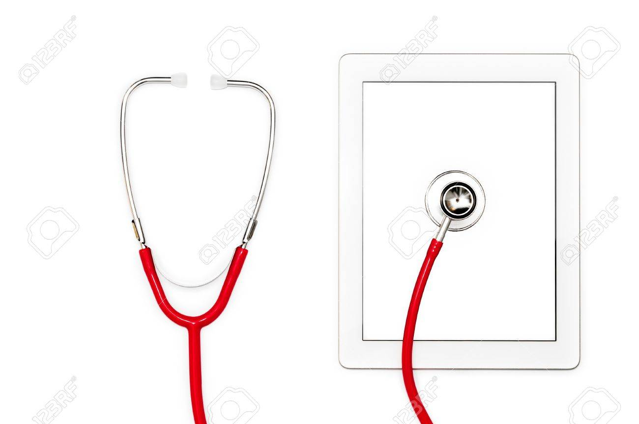 Modern technology of tablet with touch screen  Red stethoscope on mobile computer  Isolated objects on white background  Help in virus detection and repair  System diagnostic and support online Stock Photo - 15086239