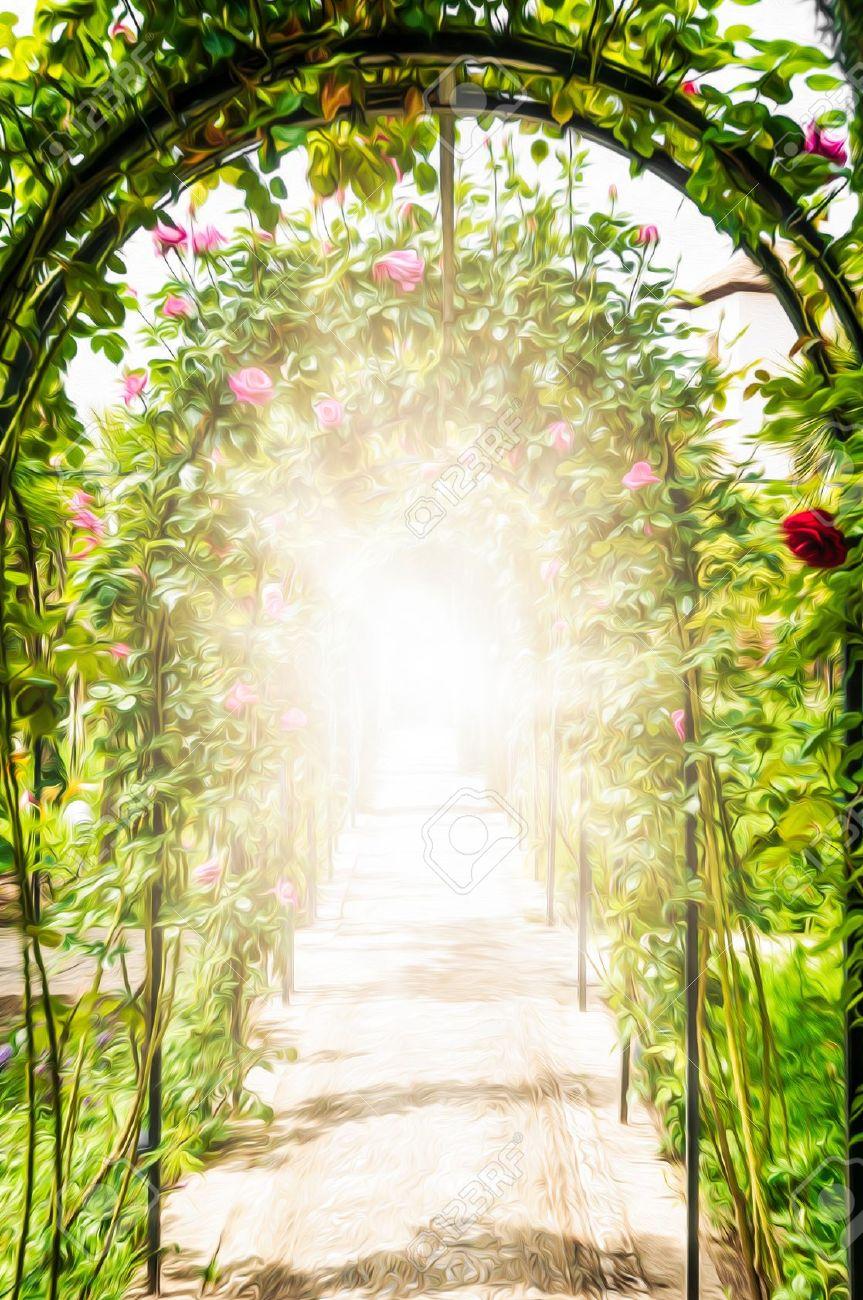 el paso por arcos hermoso jardn mltiples y paredes decoradas con rosas flores rosadas y rojas