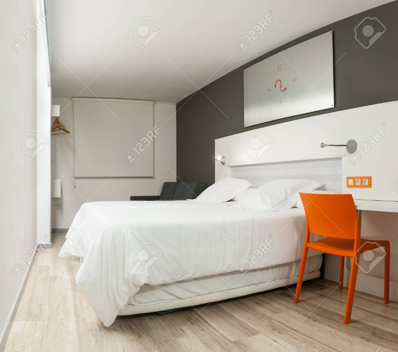 hotel style furniture. beautiful stylish interior in modern style elegant design of furniture clean empty hotel room r