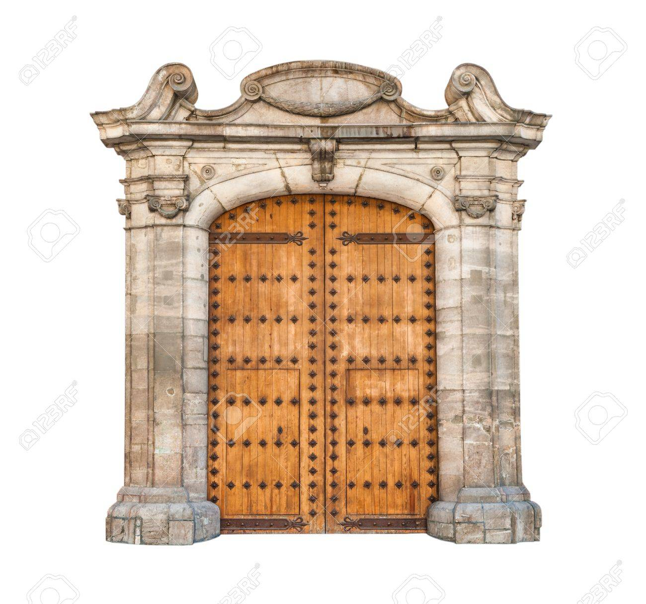 Wooden Double Doors With Iron Details Beautiful Stone Arch Designed In Gothic Style Massive Doorway Isolated