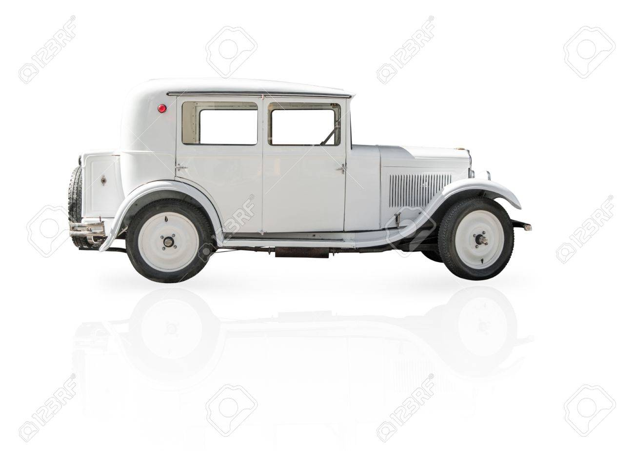 Side View Of White Retro Car Isolated On White Background Classic
