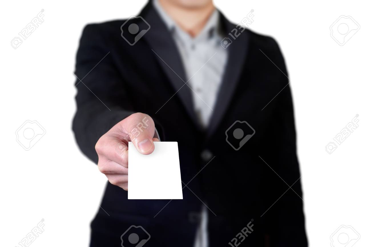 Business Man Handing A Blank Business Card Over White Background ...