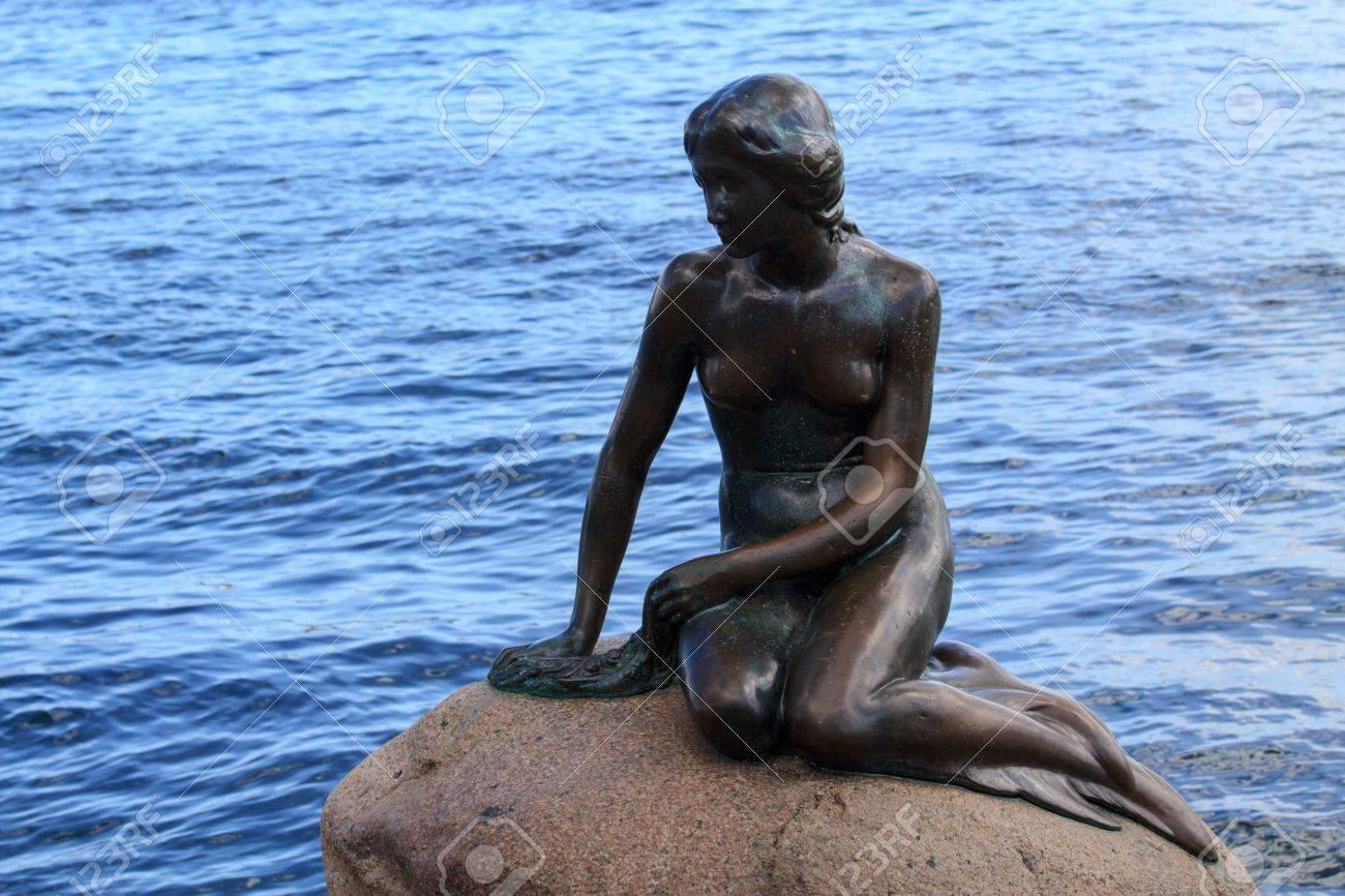 little mermaid landmark in copenhagen denmark stock photo