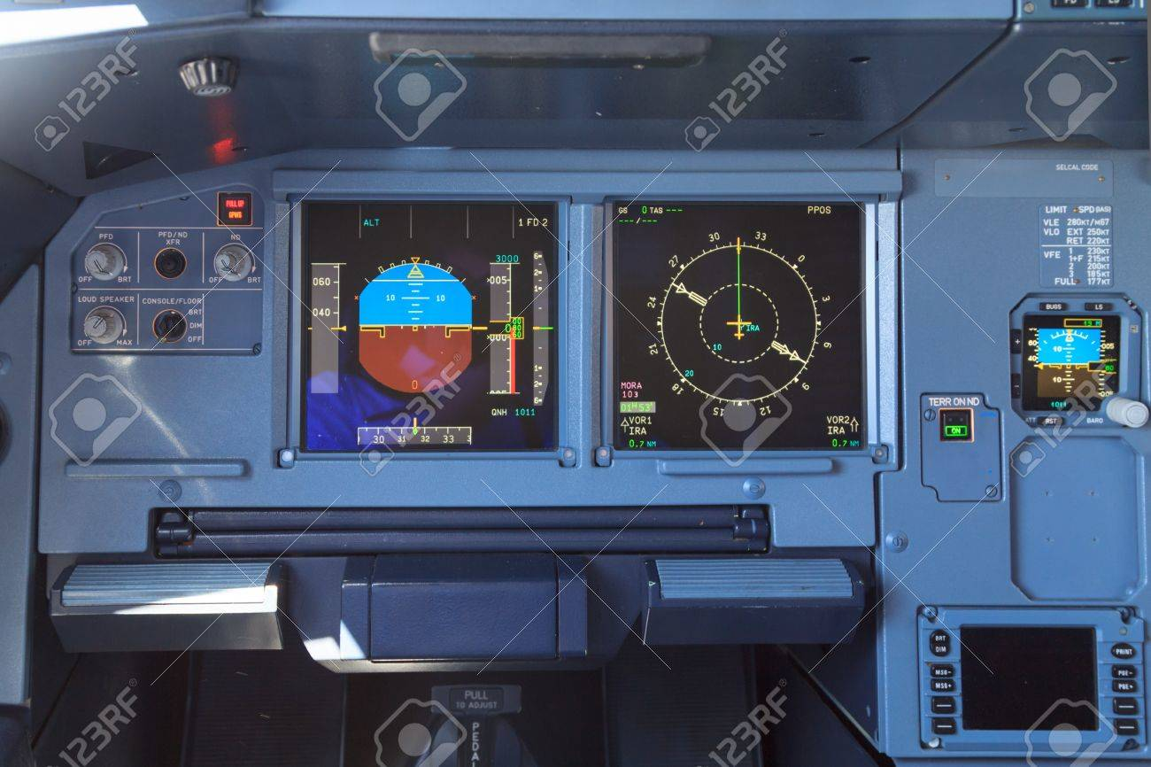 Screens in an airplane cockpit - the control panel for directions,