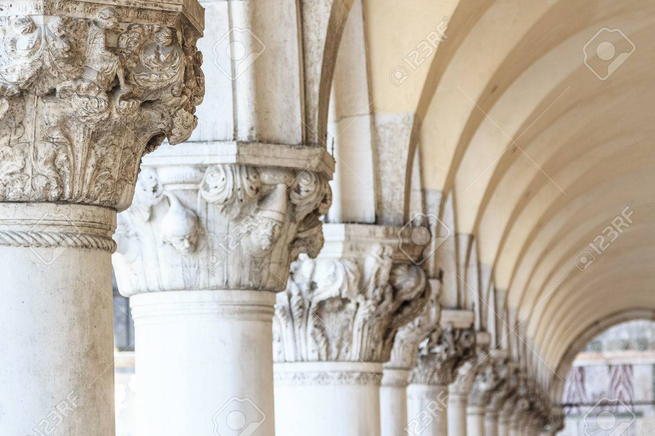 Columns Of The Arcade Of The Doge\'s Palace On Piazza San Marco ...