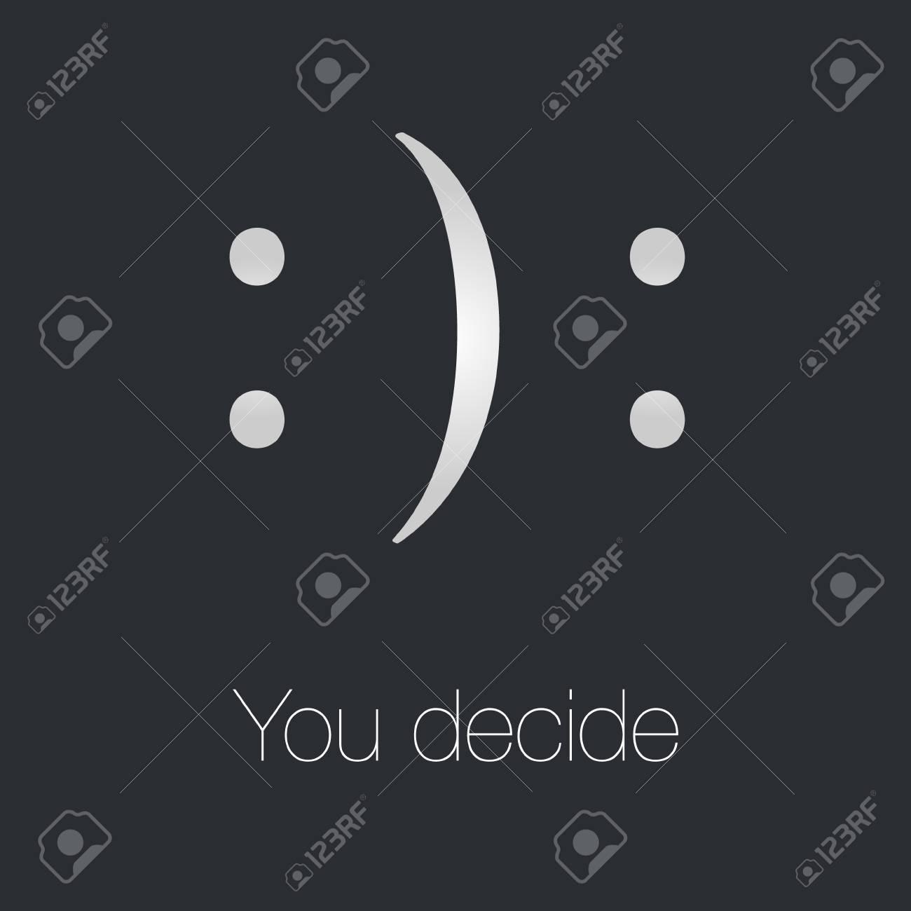 Happy or sad motivation white smile symbol on the black background stock photo 88566428