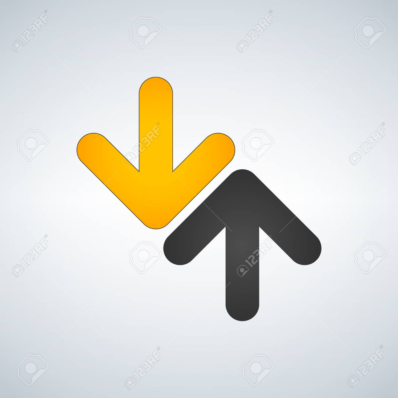 Grey up and yellow down arrow icon on light background royalty free grey up and yellow down arrow icon on light background stock vector 90364651 buycottarizona Choice Image