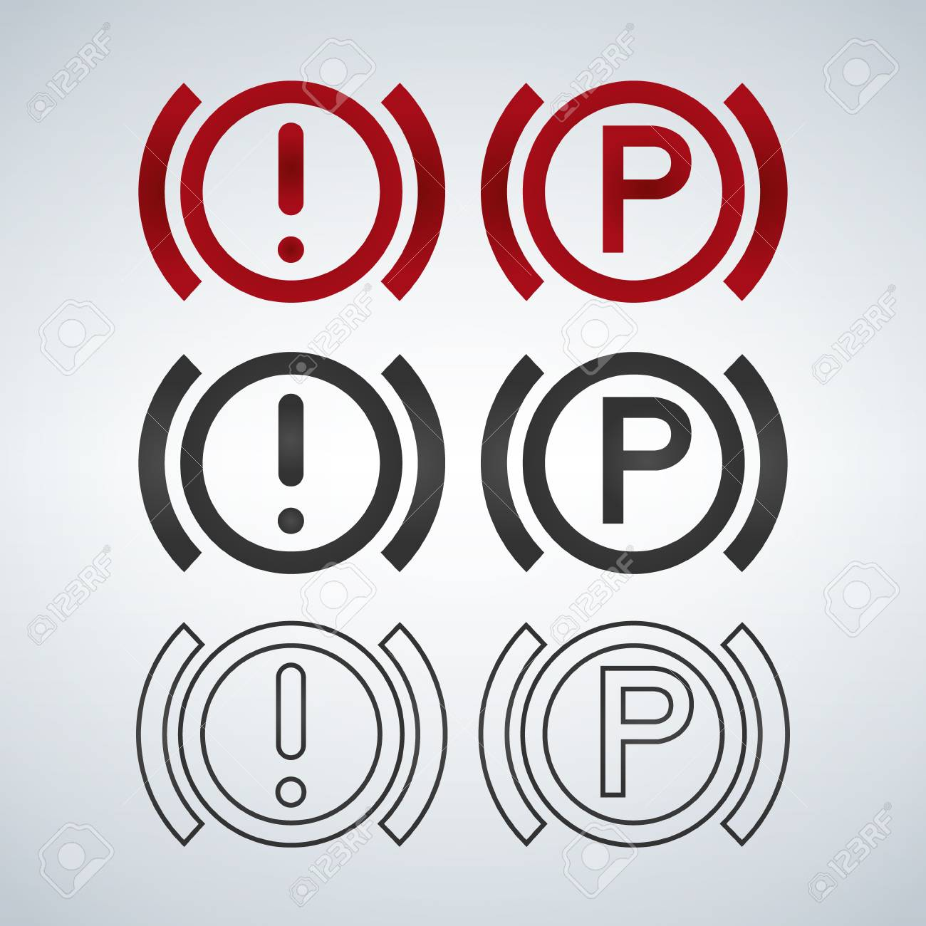 Sign On The Car Dashboard Parking Icon And Exclemation Warning - Car image sign of dashboardcar dashboard icons stock images royaltyfree imagesvectors