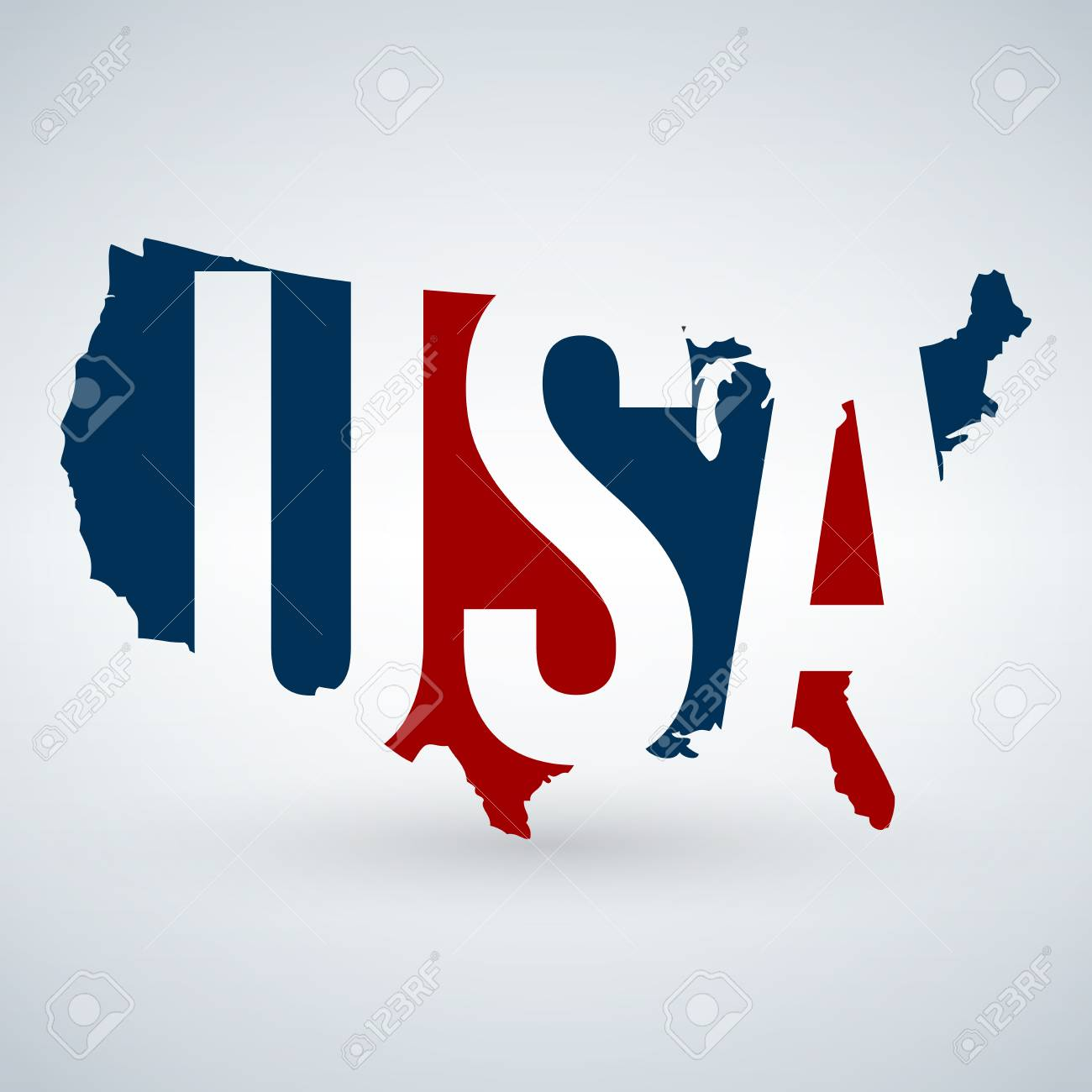 Us Logo Or Icon With Usa Letters Across The Map United States - Us-map-logo