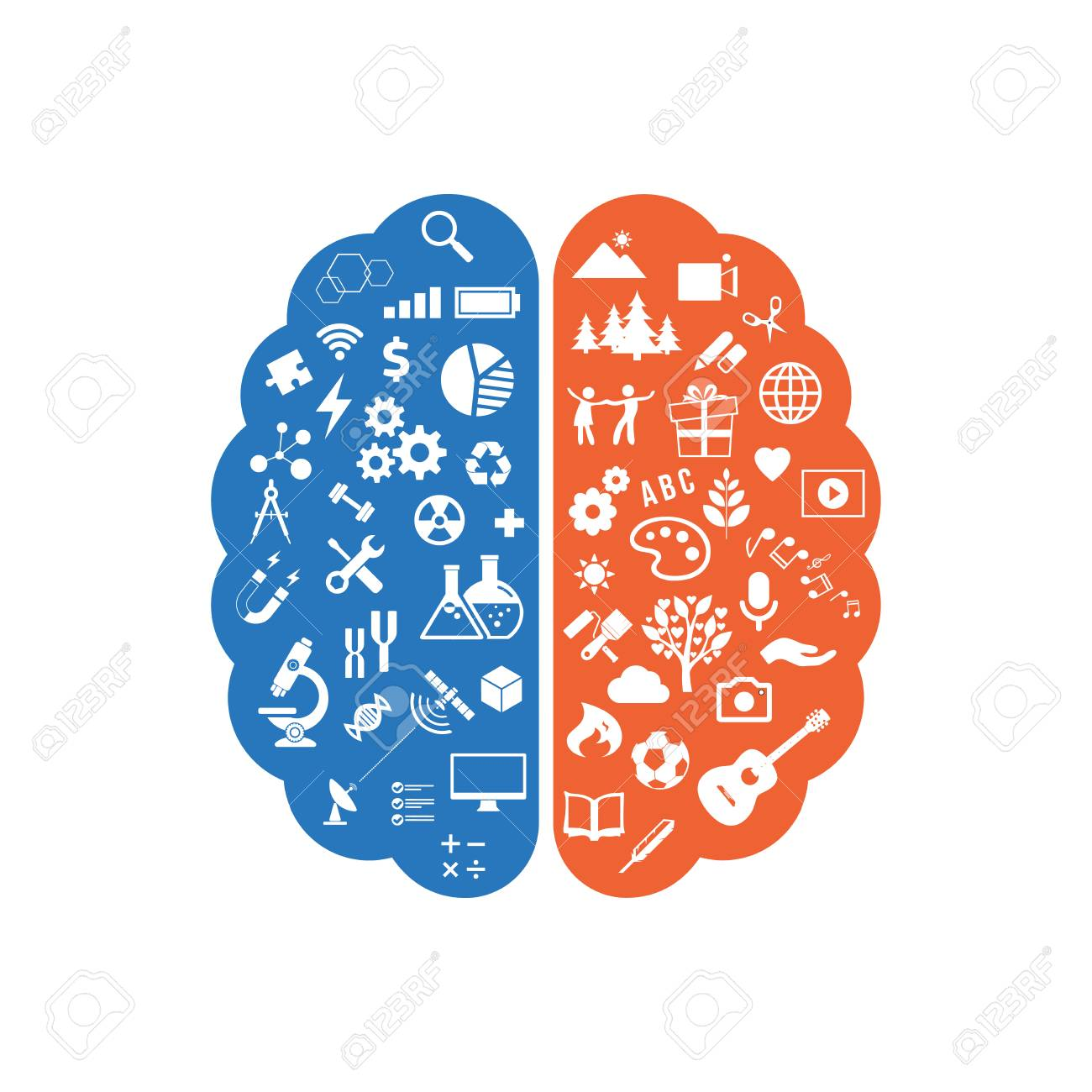 Abstract human brain with the icons of art and science. The concept of work left and right sides of the human brain. Education icons. Vector illustration - 101290390
