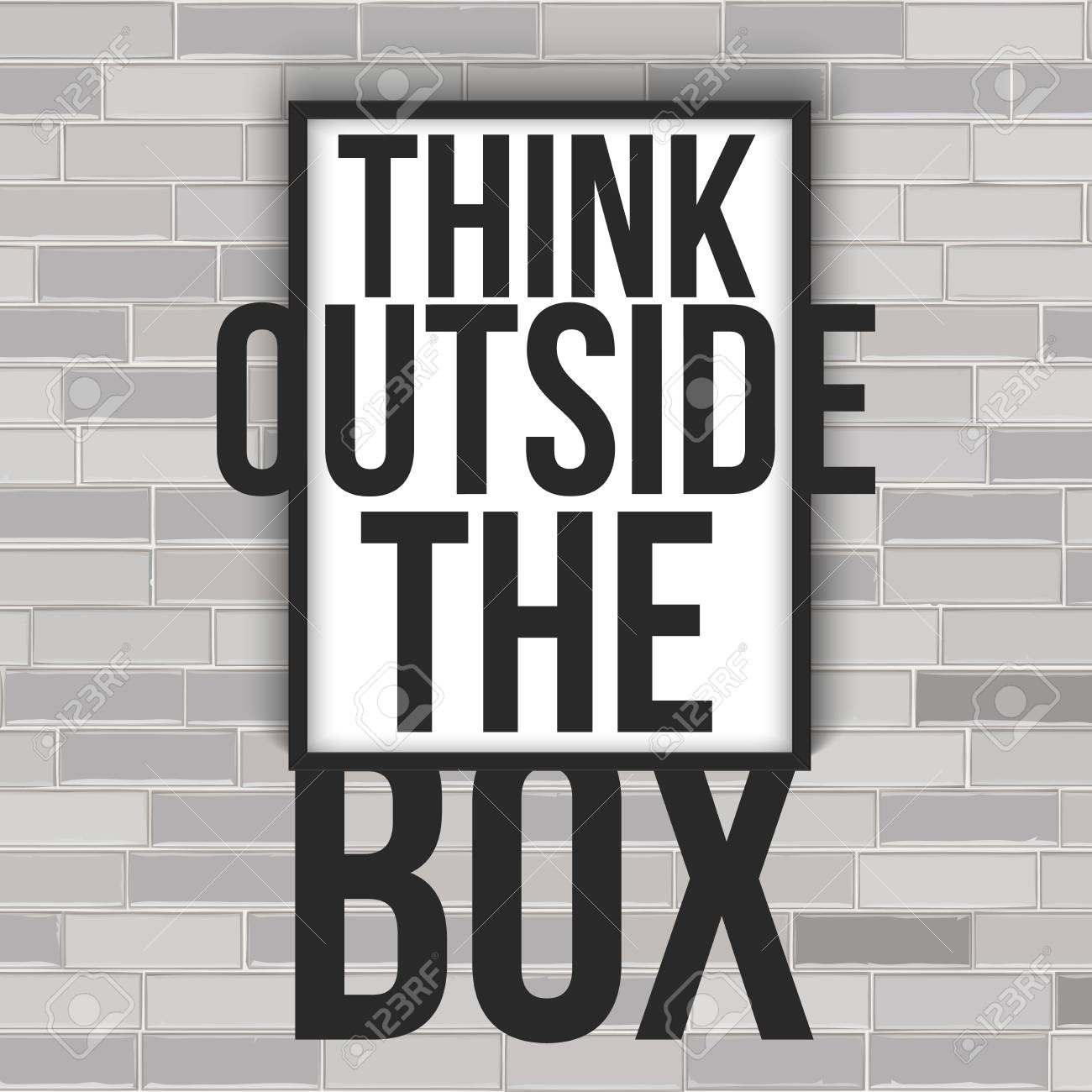 Think Outside The Box Concept With Frame On The Brick Wall. Vector ...