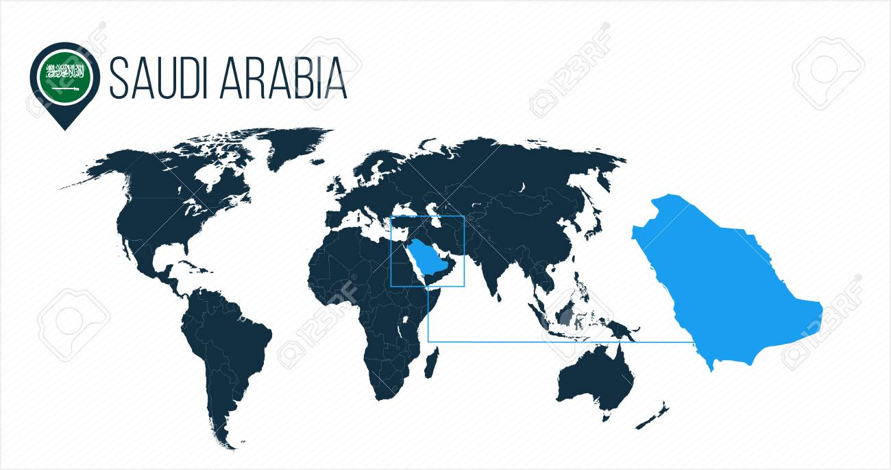 Saudi Arabia location on the world map for infographics. All..